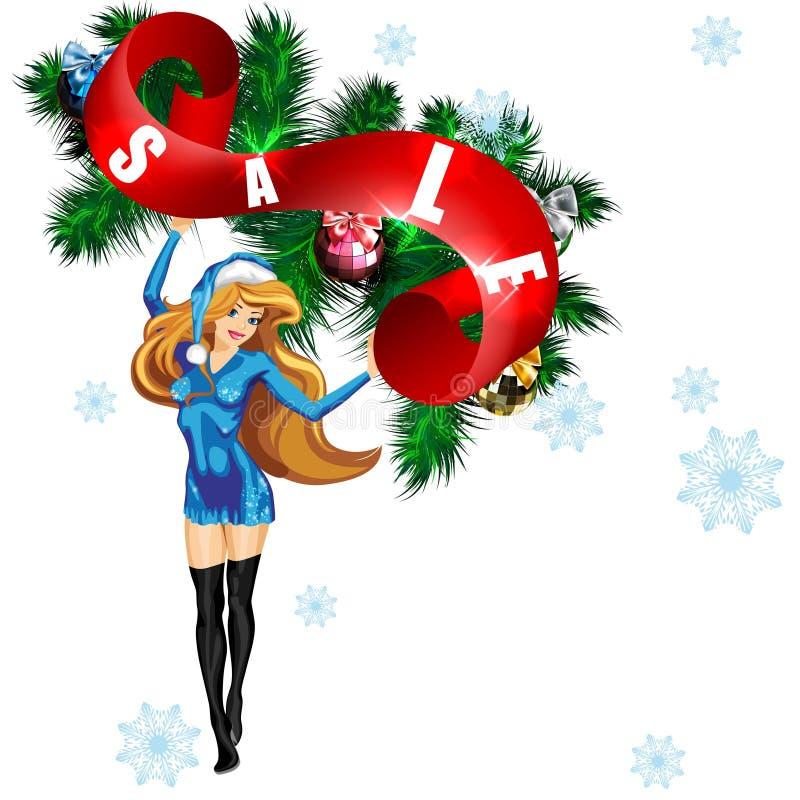 Donzela da neve com um ` da venda do ` do cartaz ilustração royalty free