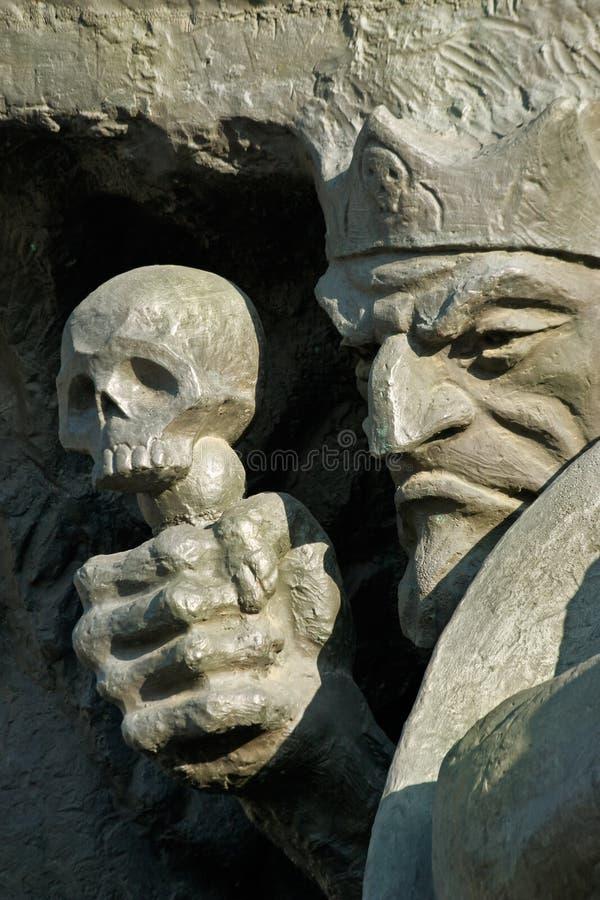 Dood en schedel-fragment van een beeldhouwwerk royalty-vrije stock afbeeldingen
