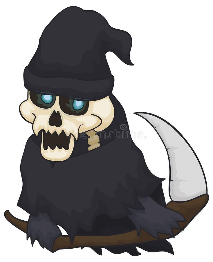 Dood Klaar voor Zielenoogst tijdens Halloween, Vectorillustratie vector illustratie