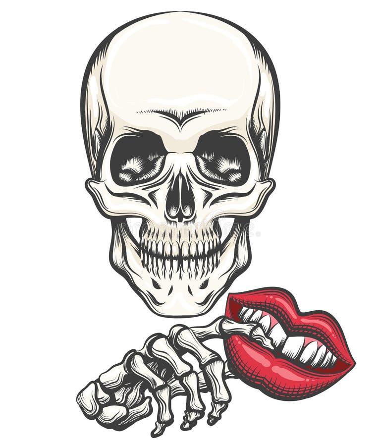 Dood met Toy Lips in een hand royalty-vrije illustratie