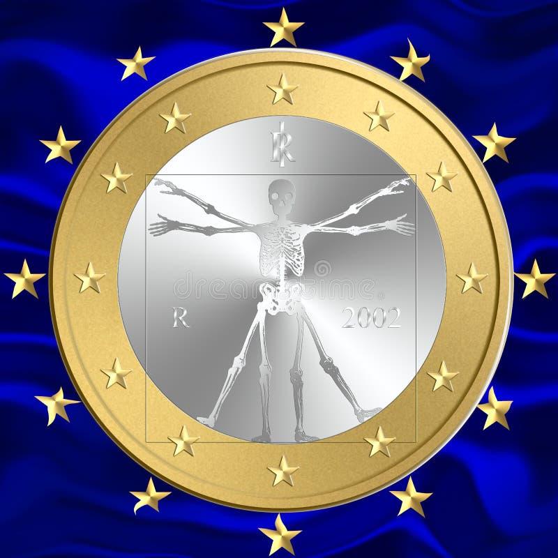 Dood van euro munt royalty-vrije illustratie