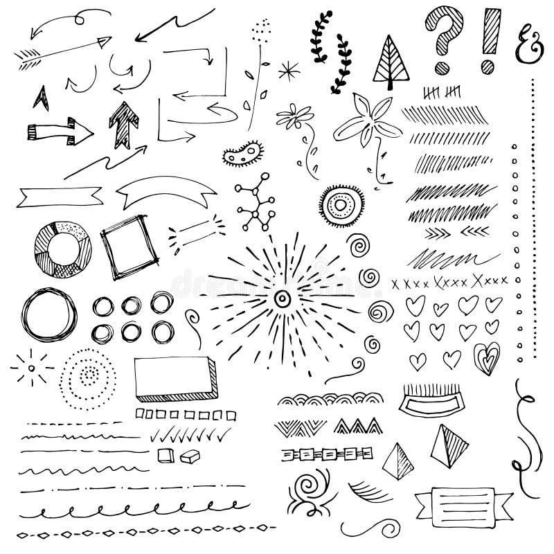 Doodads нарисованные рукой, эскизы и элементы иллюстрация вектора