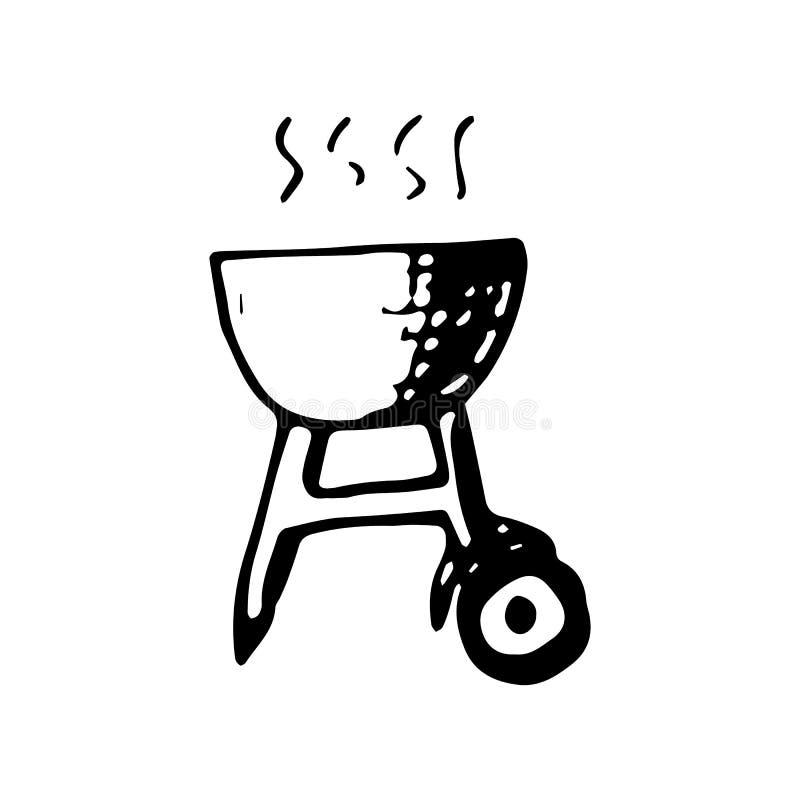 Doodle гриля барбекю руки вычерченный Значок стиля эскиза Элемент украшения белизна изолированная предпосылкой Плоский дизайн век иллюстрация вектора
