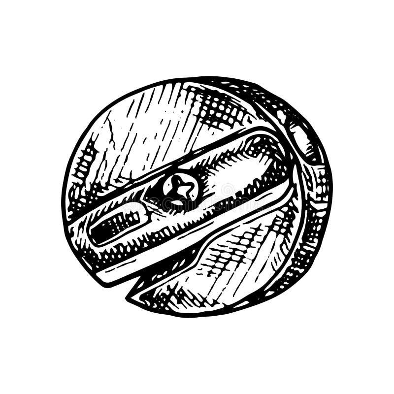 Doodle точилки для карандашей руки вычерченный Значок стиля эскиза Элемент украшения белизна изолированная предпосылкой Плоский д иллюстрация штока