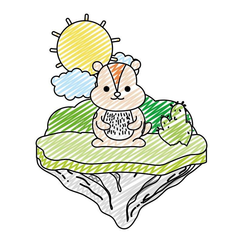 Doodle ładnego chipmunk zwierzęcia w pływakowej wyspie royalty ilustracja