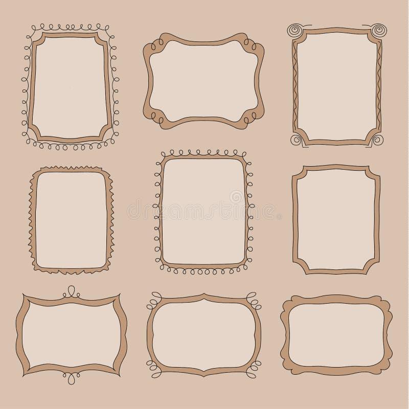 doodle śliczne ramy ilustracja wektor