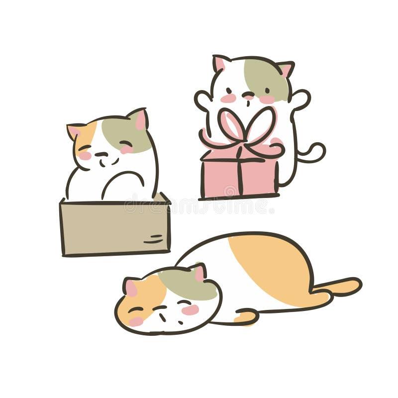 Doodle ślicznego małego kota kolekcji teraźniejszości wektorowego ustalonego pudełko męczącego ilustracji