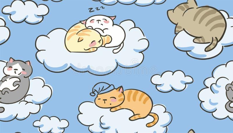 Doodle ślicznego małego kota sen wektorowe bezszwowe deseniowe chmury ilustracja wektor