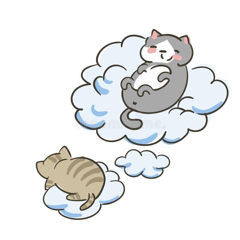 Doodle ślicznego małego kota wektorowe chmury latają sen ilustracja wektor