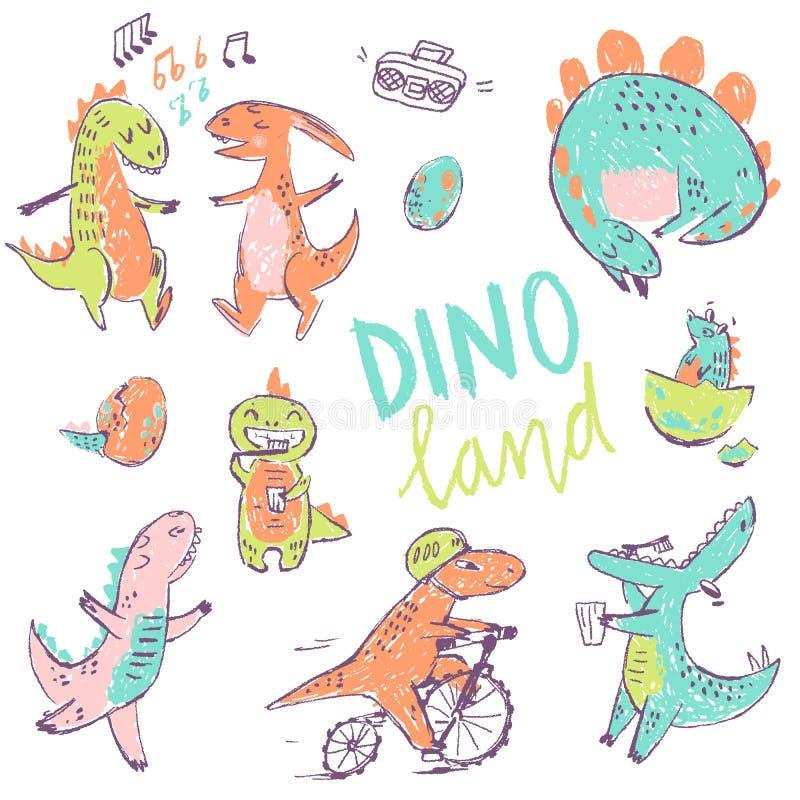 Doodle śliczni dinosaury inkasowi Śmieszny śliczny dzieciak rysujący charaktery również zwrócić corel ilustracji wektora ilustracji
