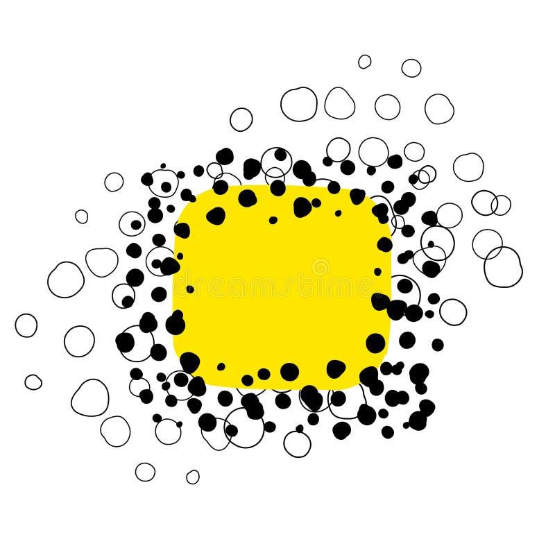 Doodle żółty abstrakcjonistyczny cyfrowy tło ilustracja wektor