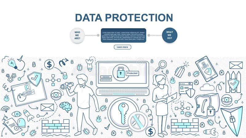 doodle έννοια ύφους σχεδίου της σε απευθείας σύνδεση λύσης προστασίας δεδομένων ελεύθερη απεικόνιση δικαιώματος