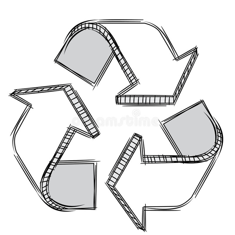 doodle ανακυκλώστε το σημάδι απεικόνιση αποθεμάτων