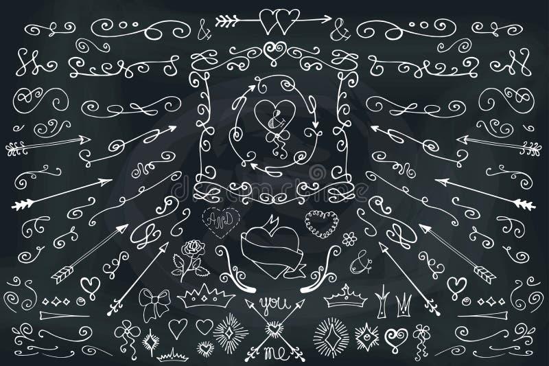 Doodle, βέλη, στοιχείο ντεκόρ Σύνολο αγάπης chalkboard απεικόνιση αποθεμάτων