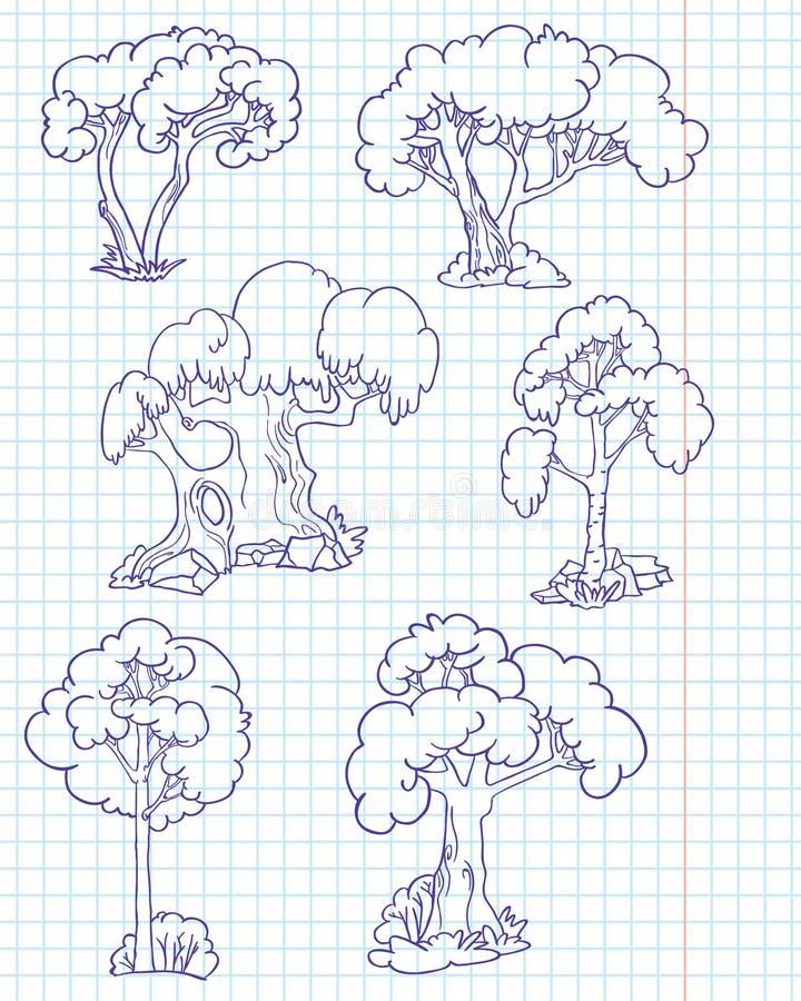 doodle δέντρα διανυσματική απεικόνιση