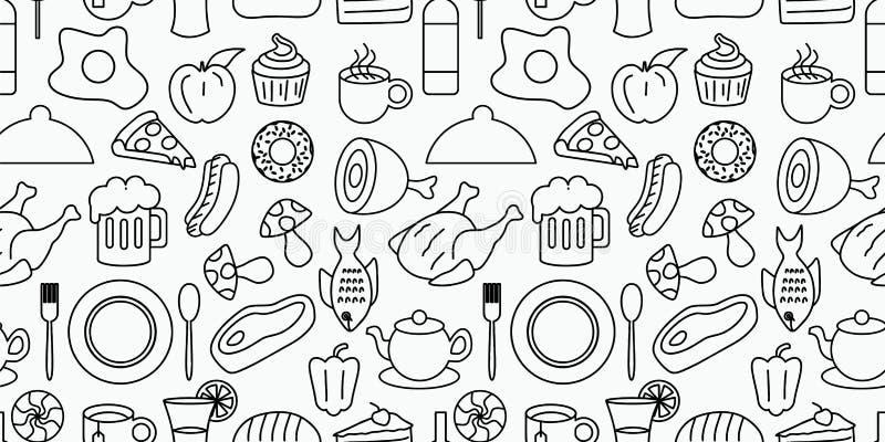 Doodle διανυσματικής απεικόνισης σχεδίων τροφίμων και ποτών της άνευ ραφής ελεύθερη απεικόνιση δικαιώματος