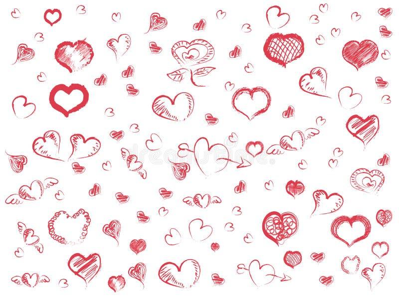 Doodle κόκκινο υπόβαθρο σχεδίων καρδιών άνευ ραφής διανυσματική απεικόνιση