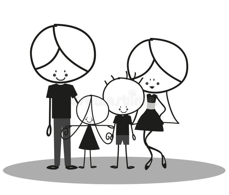 doodle οικογένεια ευτυχής διανυσματική απεικόνιση