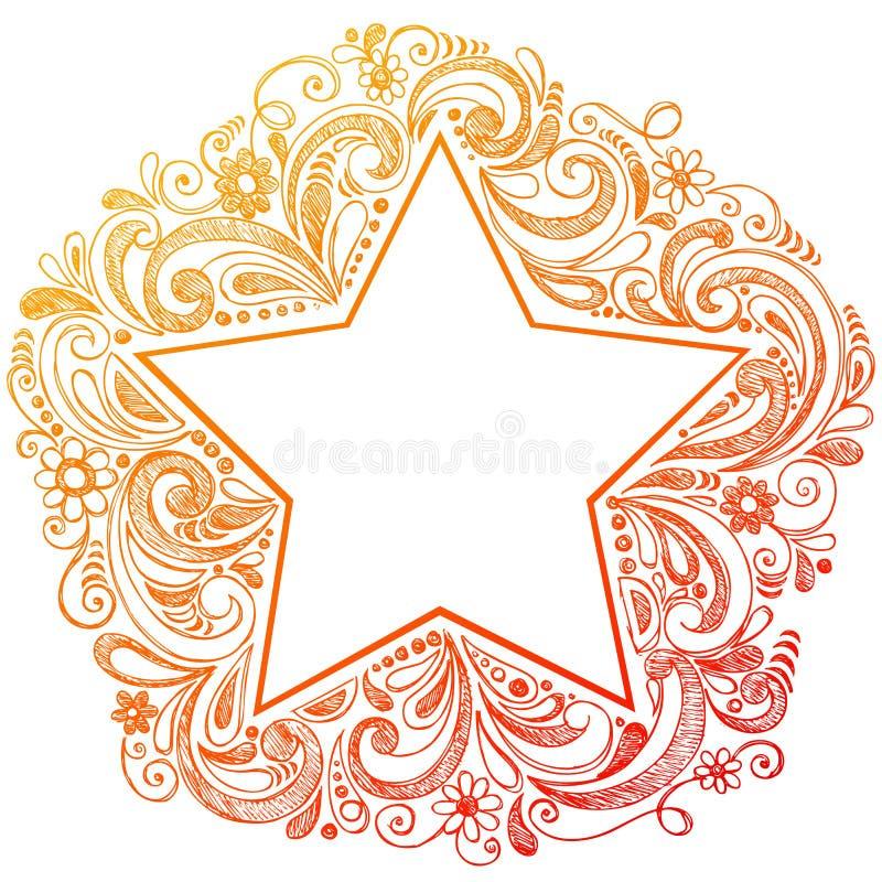 doodle περιγραμματικό διάνυσμα αστεριών διανυσματική απεικόνιση