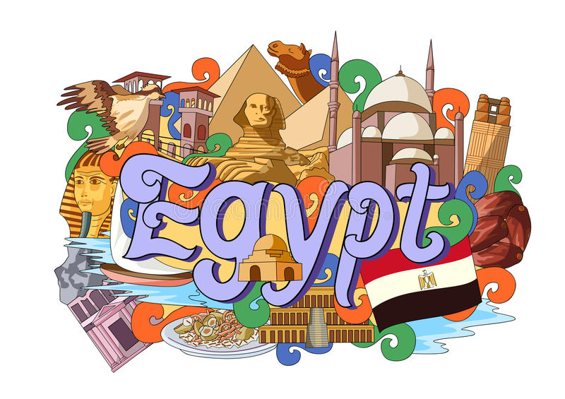Doodle που παρουσιάζει την αρχιτεκτονική και πολιτισμό της Αιγύπτου απεικόνιση αποθεμάτων