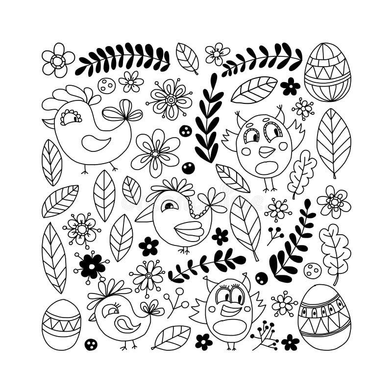 Doodle που τίθεται με τα λουλούδια, τα πουλιά και τα αυγά απεικόνιση αποθεμάτων