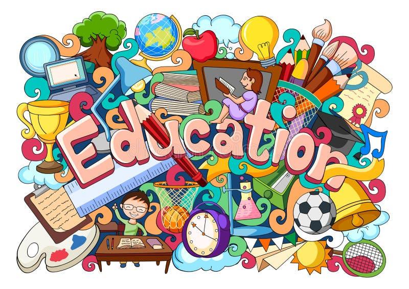Doodle στην έννοια εκπαίδευσης ελεύθερη απεικόνιση δικαιώματος
