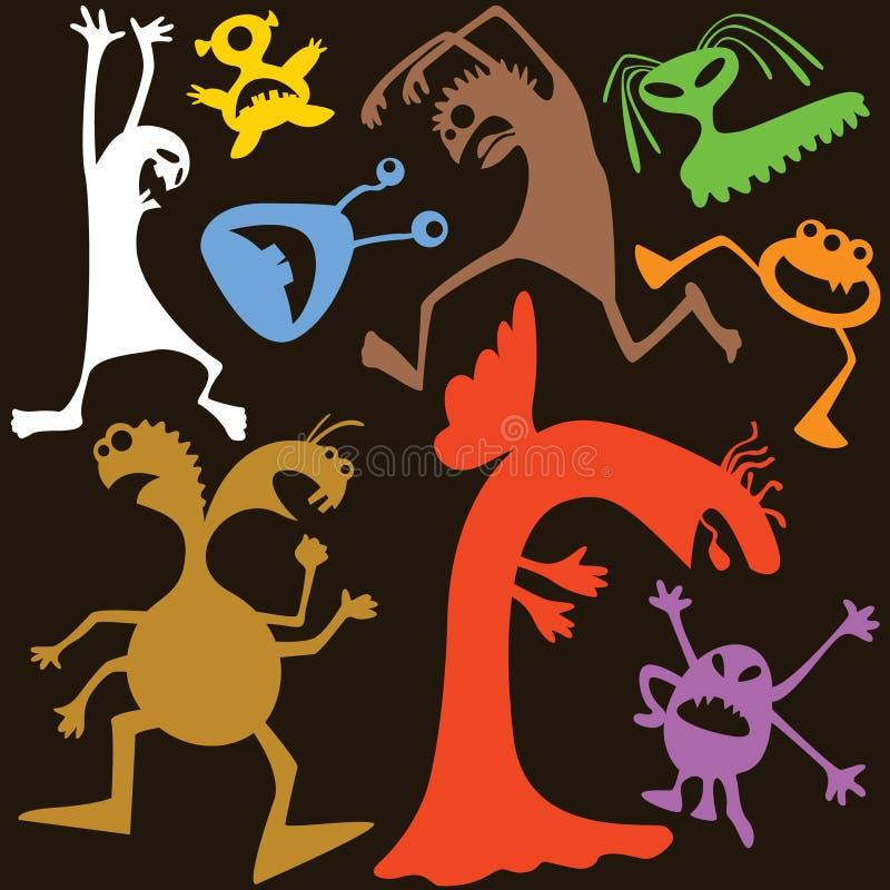 doodle τέρατα διανυσματική απεικόνιση