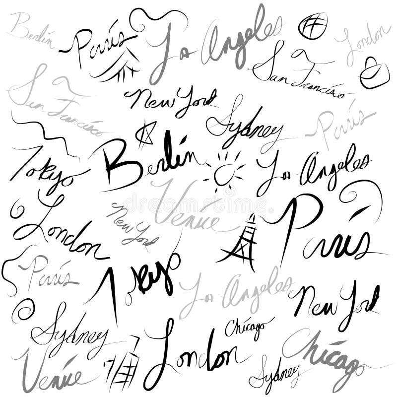 doodle ταξίδι θέσης γραφής διανυσματική απεικόνιση