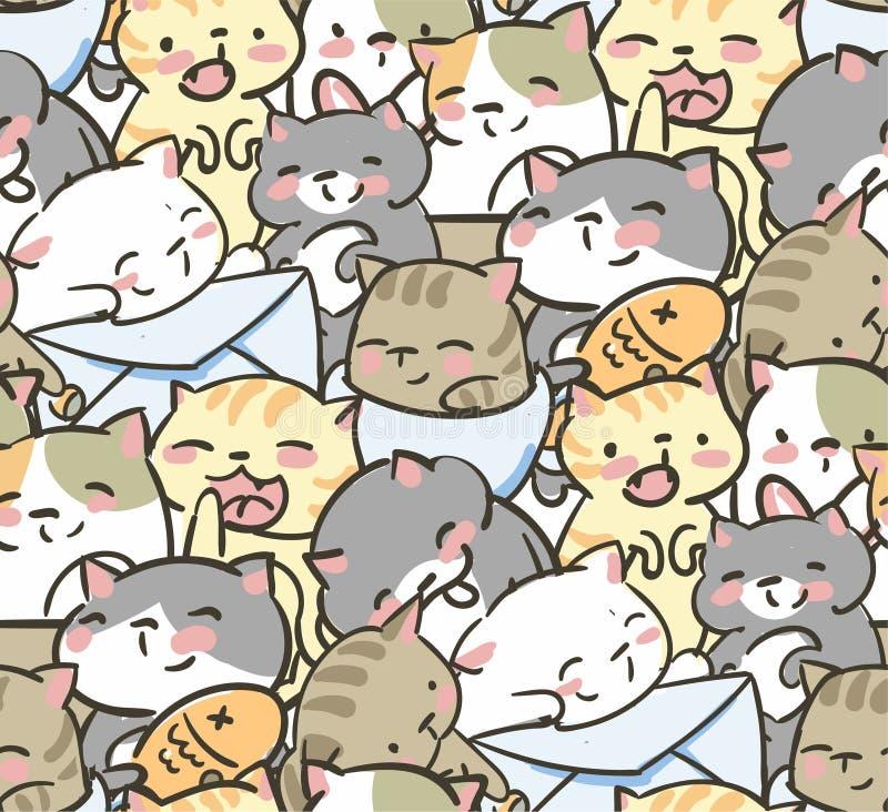 Doodle χαριτωμένο λίγο διανυσματικό άνευ ραφής σχέδιο γατών απεικόνιση αποθεμάτων