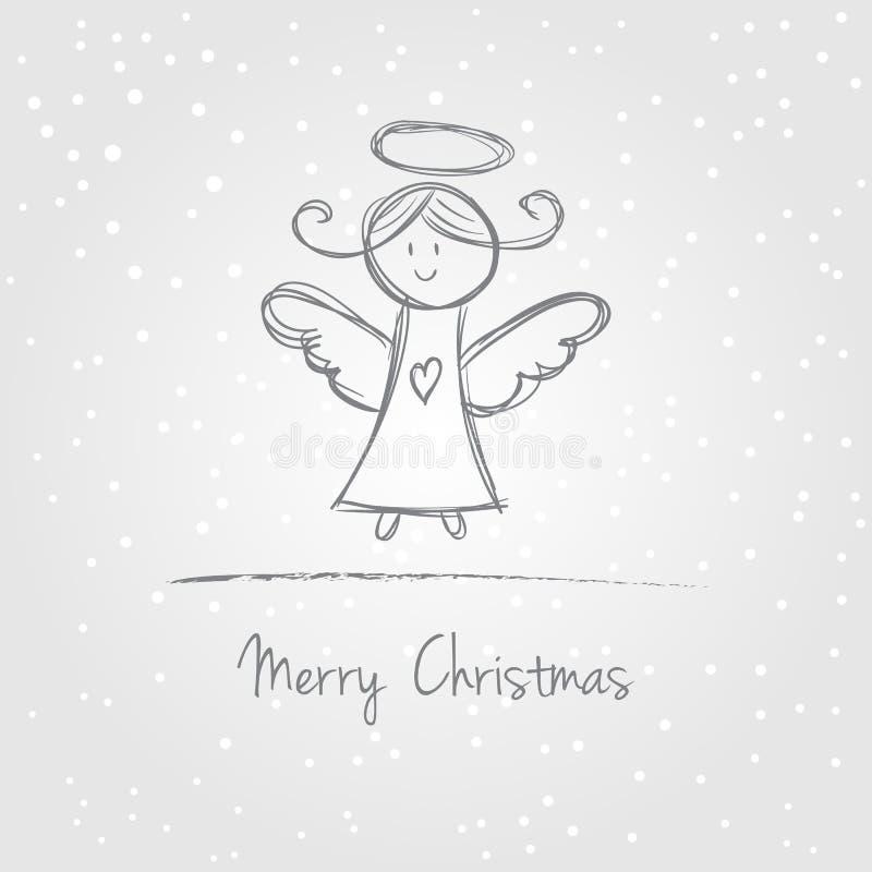 Doodle ангела рождества иллюстрация штока