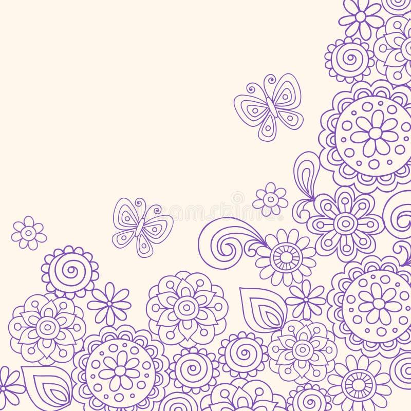 doodle бабочки цветет вектор хны иллюстрация вектора