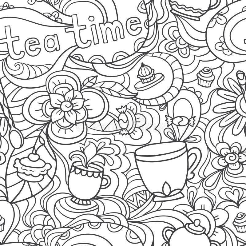Doodle безшовная картина о кофе, время чая - кофе, чай, пирожное иллюстрация штока