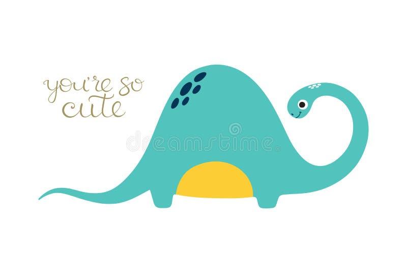 Doodle вектора милого динозавра иллюстрация штока
