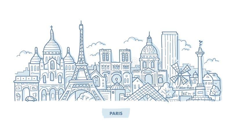 Doodle городского пейзажа Парижа иллюстрация вектора