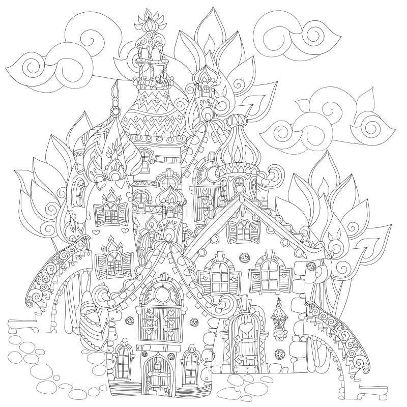 Doodle городка сказки вектора милый иллюстрация вектора