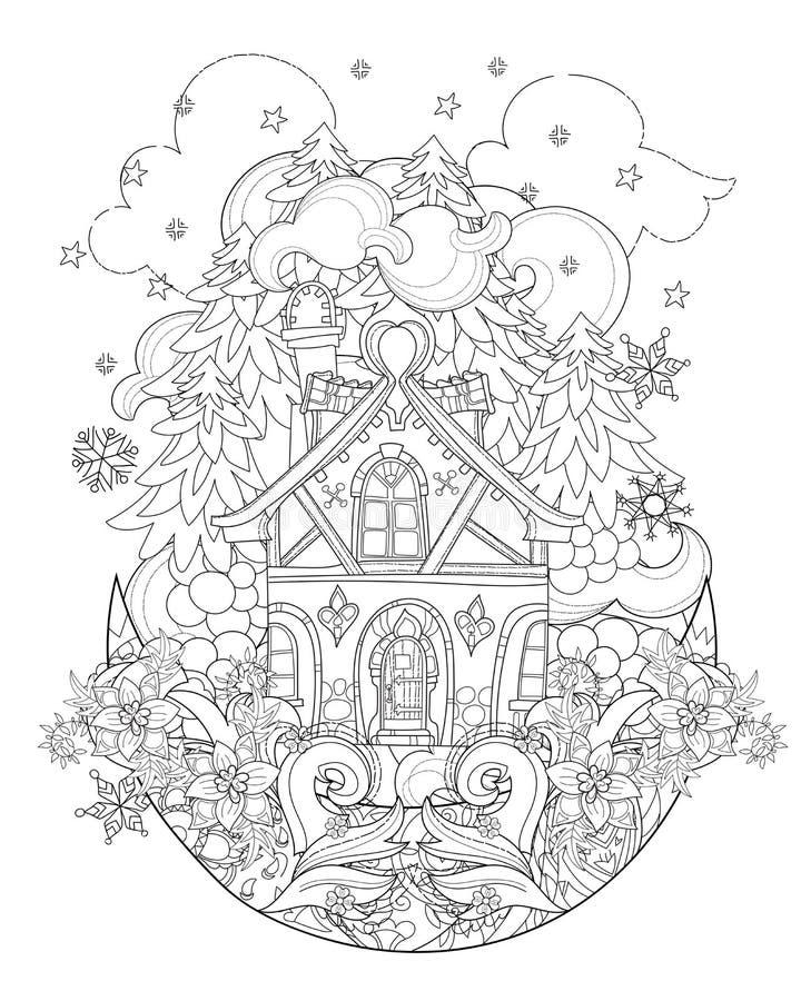 Doodle городка сказки рождества вектора милый бесплатная иллюстрация