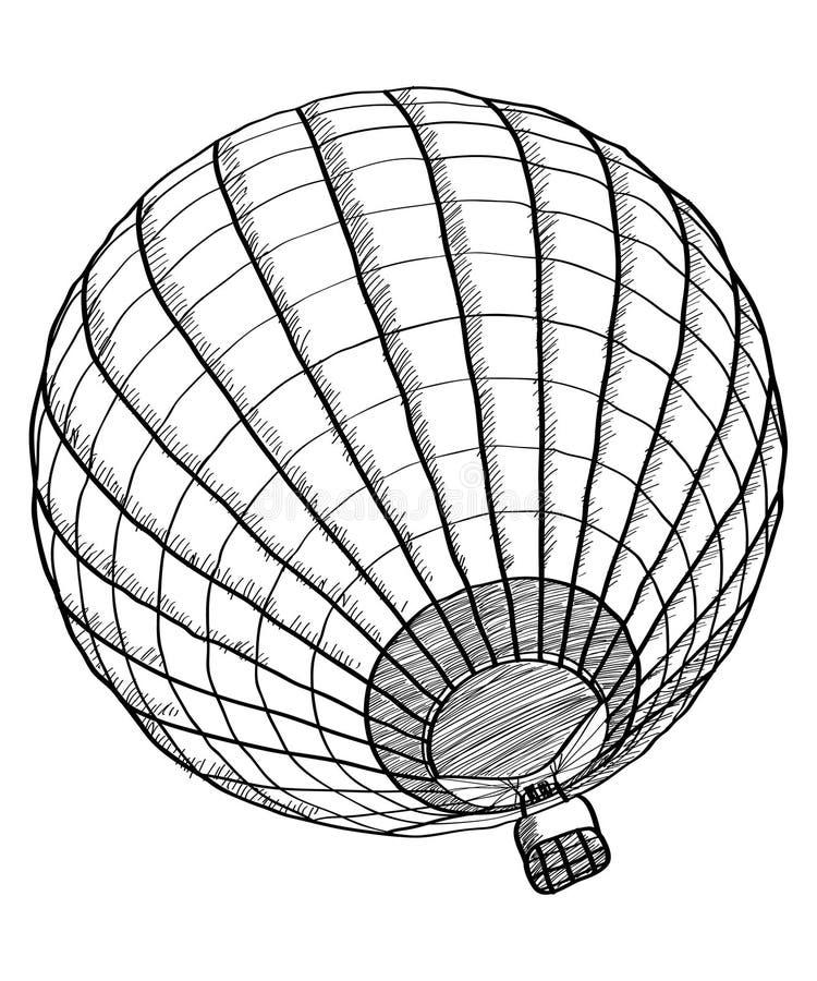 Doodle горячего эскиза вектора воздушного шара вверх по линии бесплатная иллюстрация