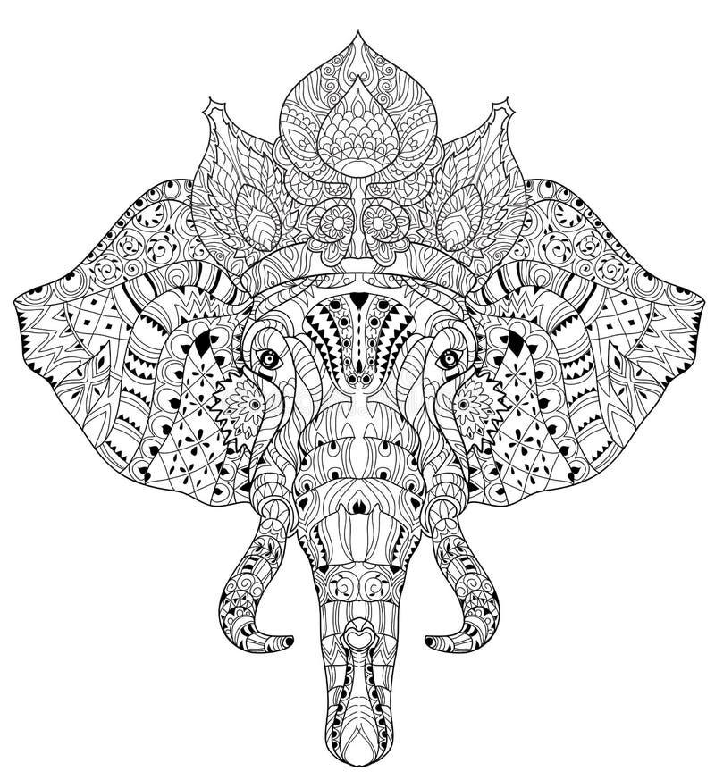 Doodle головы слона на белом эскизе вектора стоковое изображение