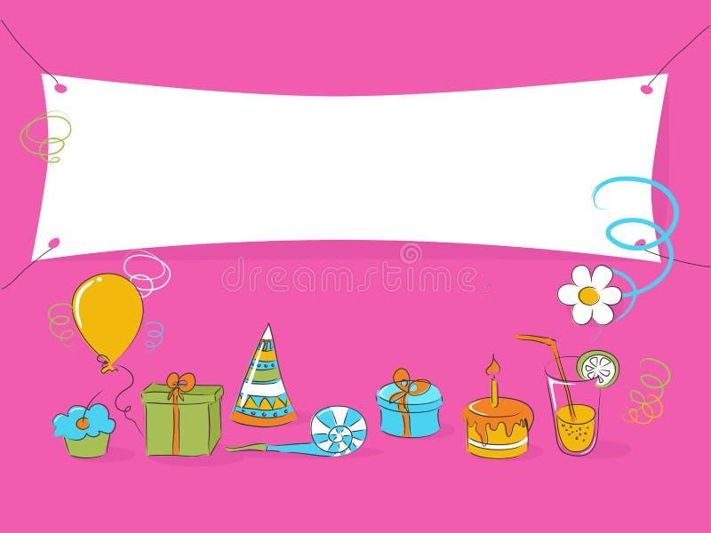 doodle дня рождения иллюстрация вектора