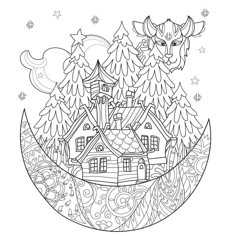 Doodle деревни сказки рождества вектора милый бесплатная иллюстрация