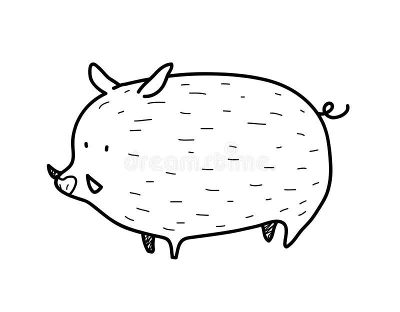 Doodle дикого кабана иллюстрация вектора
