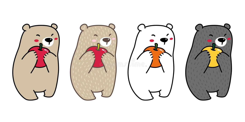 Doodle иллюстрации персонажа из мультфильма яблока логотипа значка полярного медведя вектора медведя оранжевый иллюстрация вектора