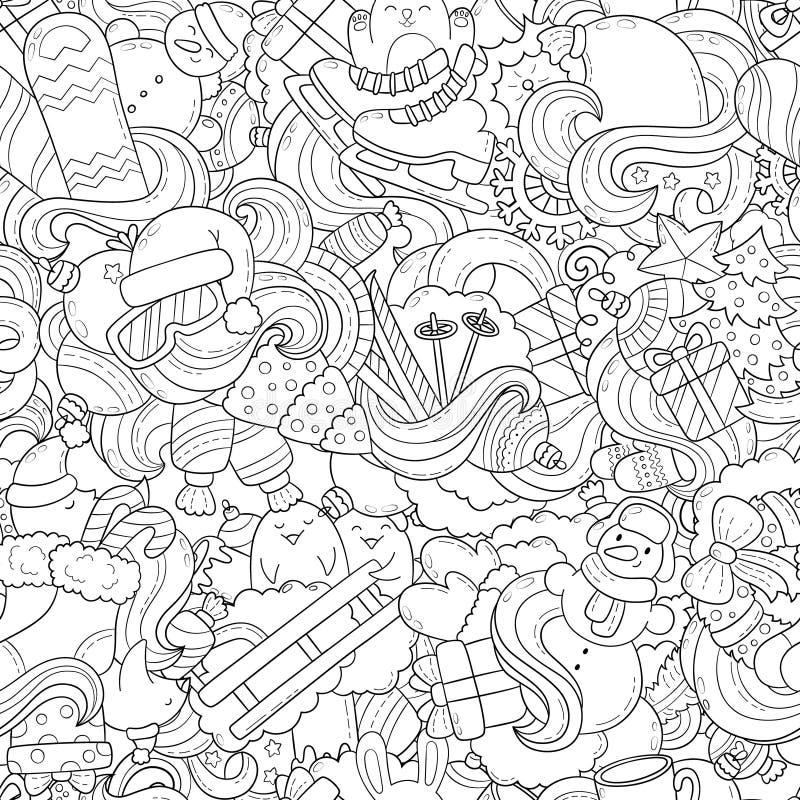 Doodle иллюстрация вектора, абстрактная предпосылка, текстура, картина, обои, собрание элементов рождества Нового Года бесплатная иллюстрация