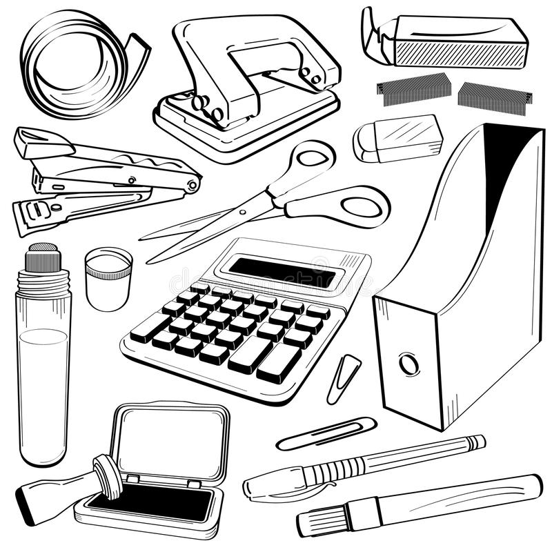 doodle инструмент канцелярских принадлежностей офиса иллюстрация вектора