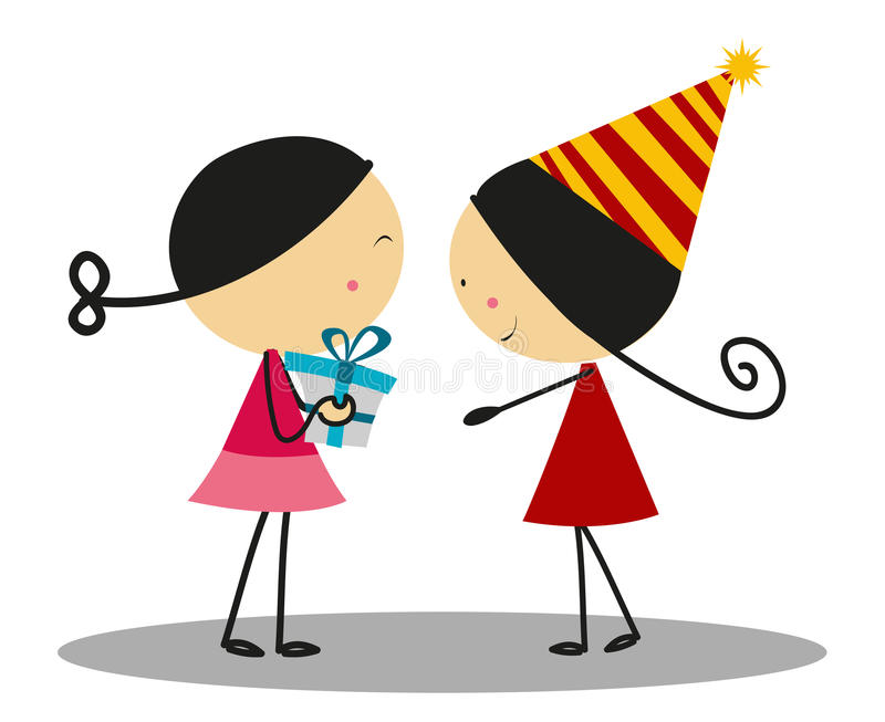 Doodle маленькая девочка давая подарок на день рождения - полный цвет иллюстрация штока