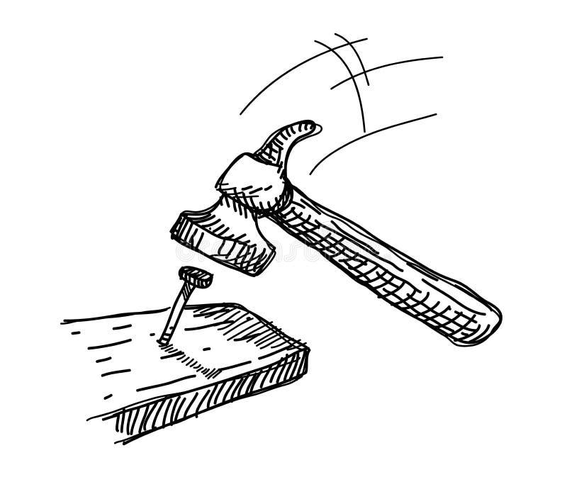 Doodle молотка и ногтя иллюстрация вектора
