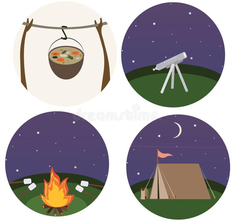Doodle мультфильма печати варить лета природы туризма перемещения цвета плоского располагаясь лагерем иллюстрация вектора