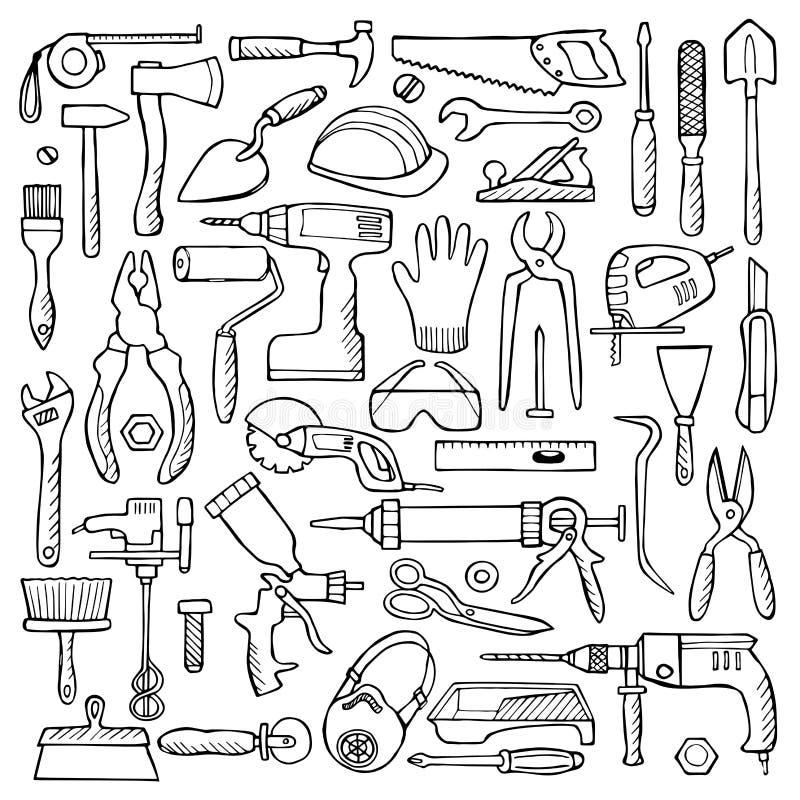 Doodle нарисованный рукой установленный с инструментами ремонта бесплатная иллюстрация