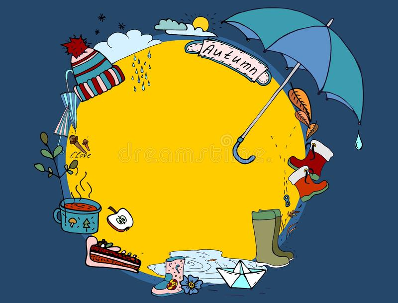 Doodle осени Настроение элементов осени Прогулка осени в дожде бесплатная иллюстрация