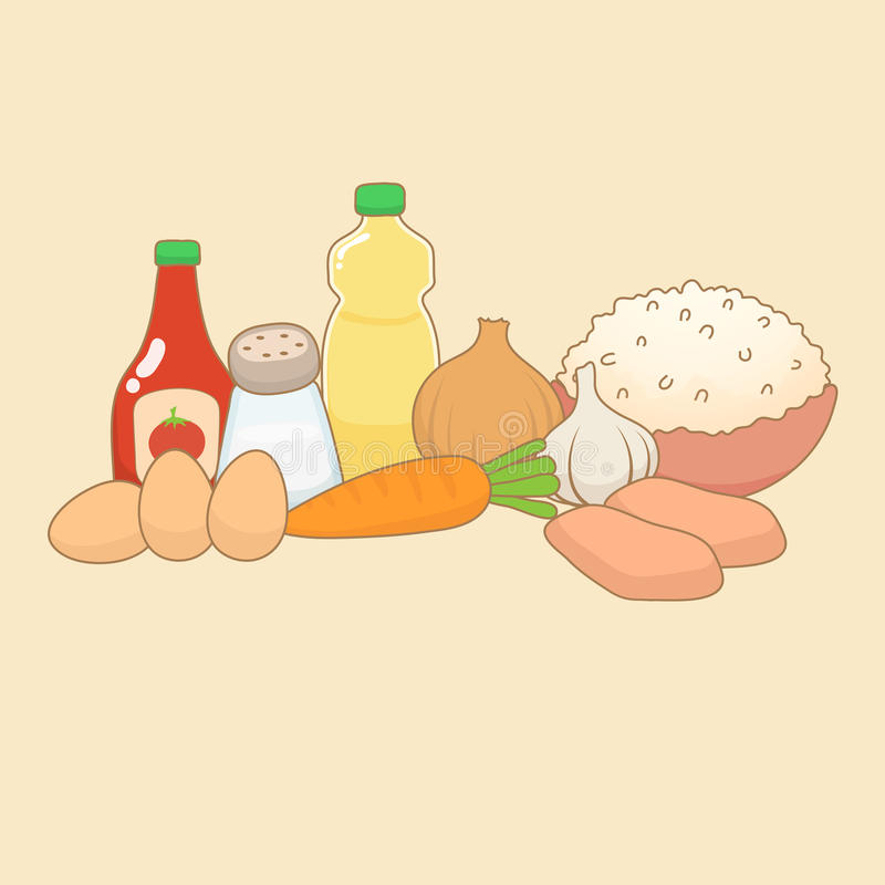 Doodle пищевых ингредиентов стоковая фотография rf